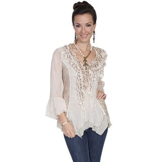 Scully Western Shirt Womens 3/4 Sleeve Ruffle Lace Pullover