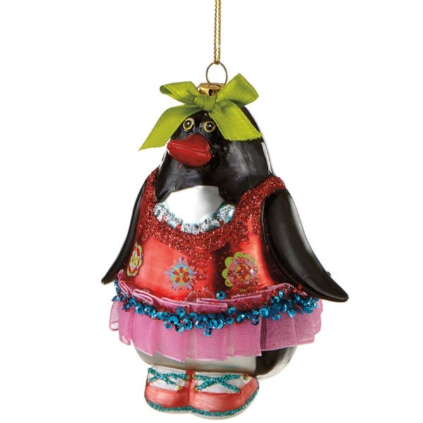 """4"""" Glitzy Glass Penquin in Red and Pink Dress Christmas Ornament - multi"""