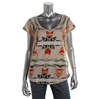 Denim & Supply Ralph Lauren Womens Fringe Printed Pullover Top