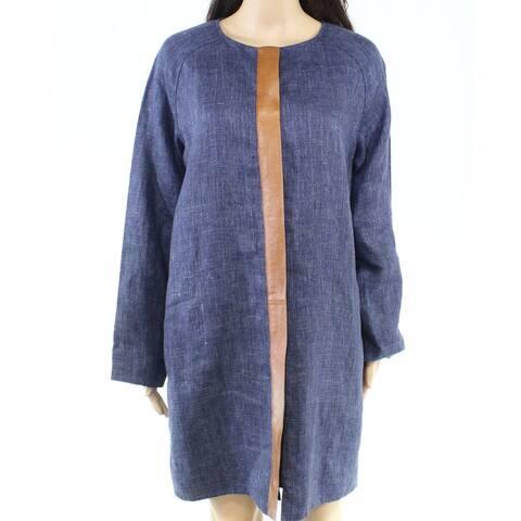 Lafayette 148 York Womens Jacket Blue Size Large L Collarless