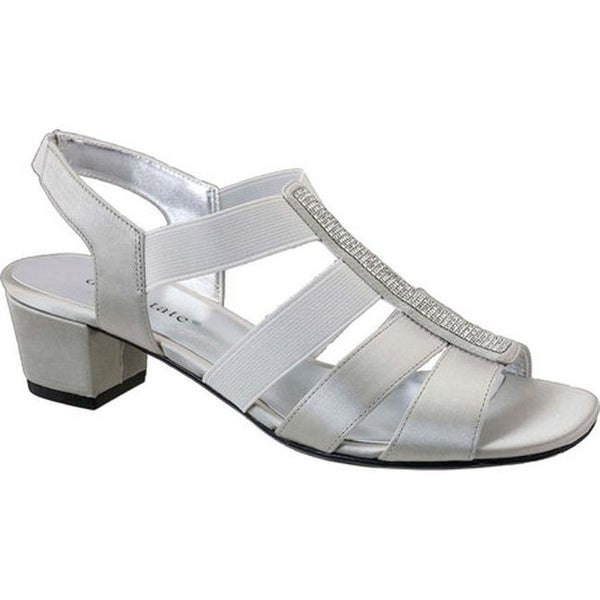 b41f84738bf5e4 Shop David Tate Women s Eve Jeweled Sandal Silver Satin - On Sale ...