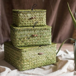 G Home Collection Rustic Natural Small Lidded Straw Basket in Green (Set of 3)