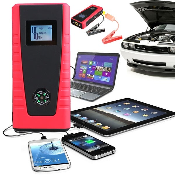Indigi® Portable Heavy Duty 12000mAh Emergency Car Jump Starter Pack w/ Laptop & USB outlets - black | red