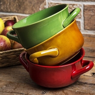 Farmhouse Cereal Bowls with Handles - Ceramic Salad and Soup Bowl Holds 24 Ounces