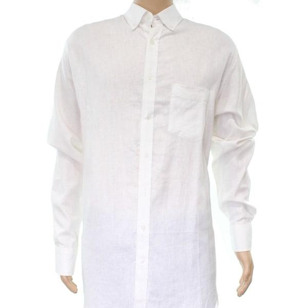 Shop Club Room New White Ivory Mens Size Xlt Linen Cotton Button