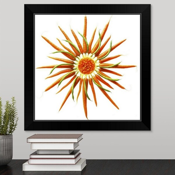"""Wheel of Carrots and Green Beans"" Black Framed Print"