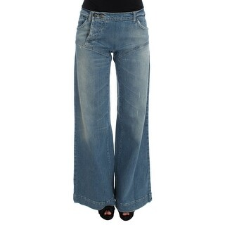 Cavalli Cavalli Blue Wash Cotton Blend Wide Legs Jeans