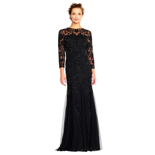 e5ea38ebba9 Shop Adrianna Papell Sheer Three Quarter Sleeve Beaded Gown with Godet  Skirt - Free Shipping Today - Overstock - 24121111