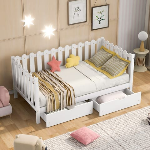 Rustic Style Twin Size Daybed with Storage Drawers&Fences