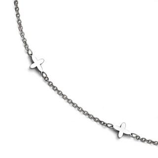 Chisel Stainless Steel Polished Cross Charms Anklet (1 mm) - 9 in