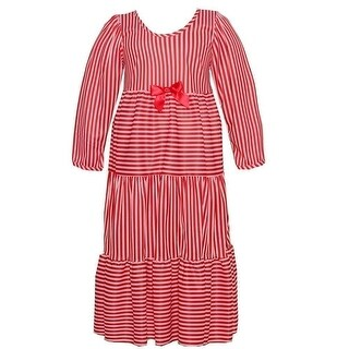 Laura Dare Little Girls Red White Stripe Bow Long Sleeve Nightgown