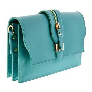HS1168 TQ CLO Turquoise Leather Clutch/Shoulder Bag - 8.5-6.5-2.5