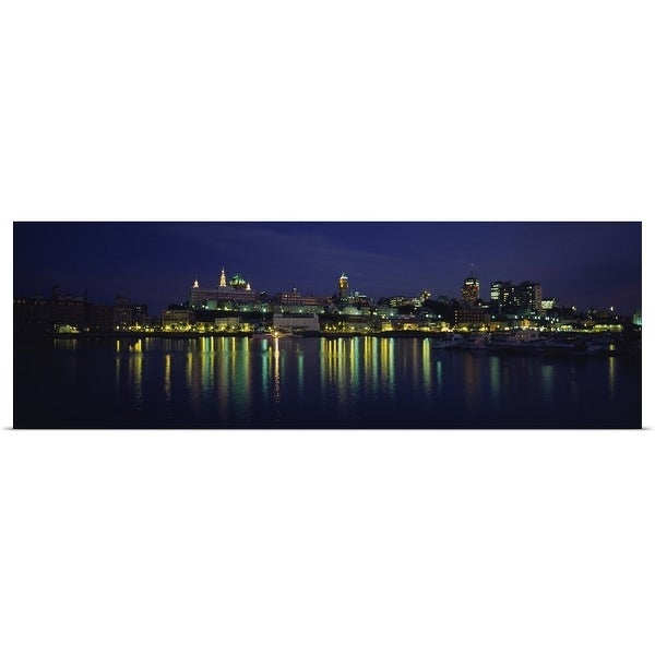 """""""Buildings lit up at night, Quebec City, Quebec, Canada"""" Poster Print"""