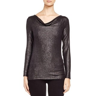 Three Dots Womens Pullover Top Metallic Cowl Neck