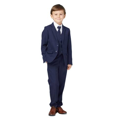 Tip Top Kids Little Boys Ink Blue Slim Fit Jacket Vest Pants Suit