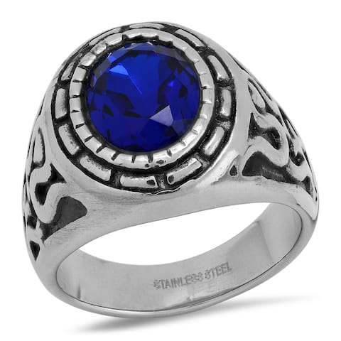 Men's stainless steel and simulated blue diamond ring
