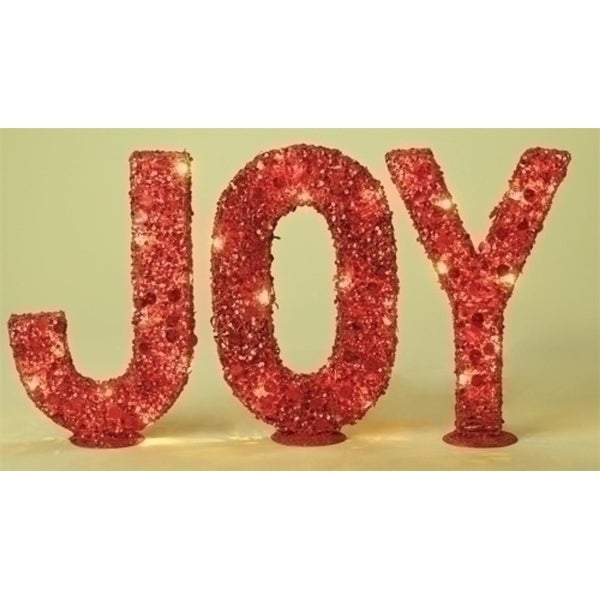 "3-Piece Lighted Red Glitter Sequined ""Joy"" Christmas Table Top Decorations 14"""