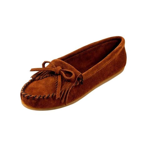 Minnetonka Shoes Womens Kilty Hardsole Moccasin Suede Brown