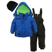 Ixtreme Toddler Boys Colorblock Heavy Snowsuit Winter Ski Jacket Bib Bonus Hat