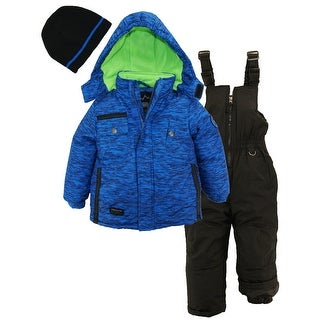 Ixtreme Toddler Boys Colorblock Heavy Snowsuit Winter Ski Jacket Bib Bonus Hat