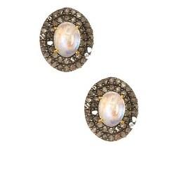Diamond Opal Stud Earring in Sterling Silver 92.5