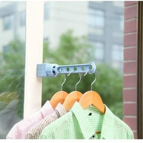 Window Clothes Hanger Rack With 5 Holes Indoor/ Outdoor Space Saver