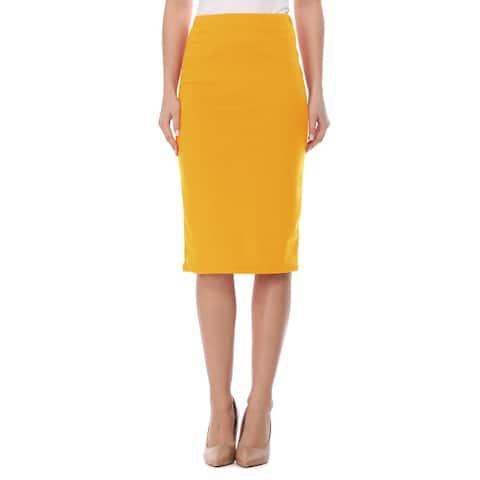 Women's Solid Elastic Waist Office Casual Midi Skirt