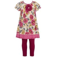 Bonnie Jean Little Girls Burgundy Flower Adorned 2 Pc Legging Outfit