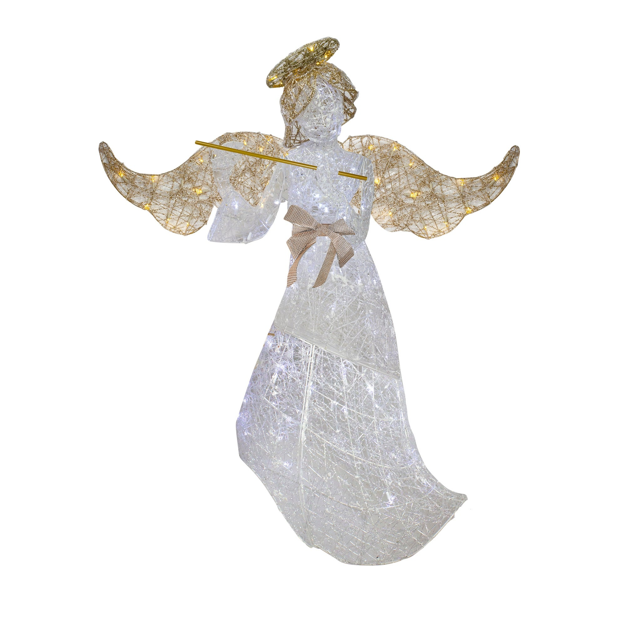 """62"""" White Standing Angel with Gold Wings LED Lighted Christmas Outdoor Decoration"""