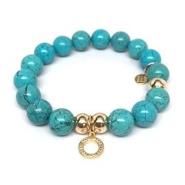 Turquoise Magnesite Circle Charm stretch bracelet 14k over Sterling Silver