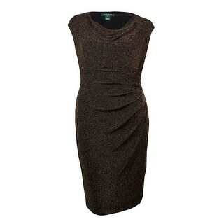 Lauren Ralph Lauren Women's Metallic Cowl Neck Ruched Dress