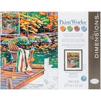 """Paint Works Paint By Number Kit 14""""X11""""-Golden Pond - Gold"""