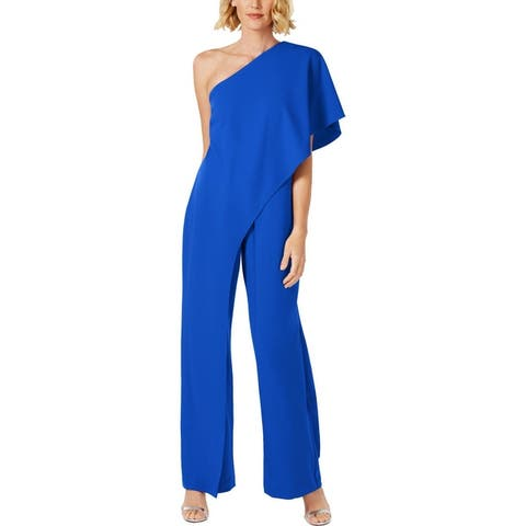 Adrianna Papell Womens Jumpsuit One Shoulder Draped