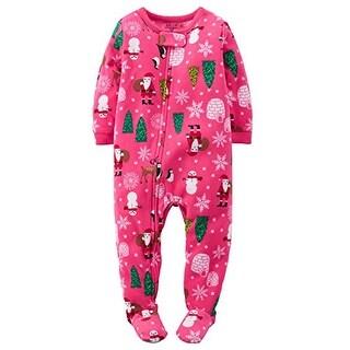 Carter's Little Girls' Fleece Pajamas (2T, Pink Holiday Print)
