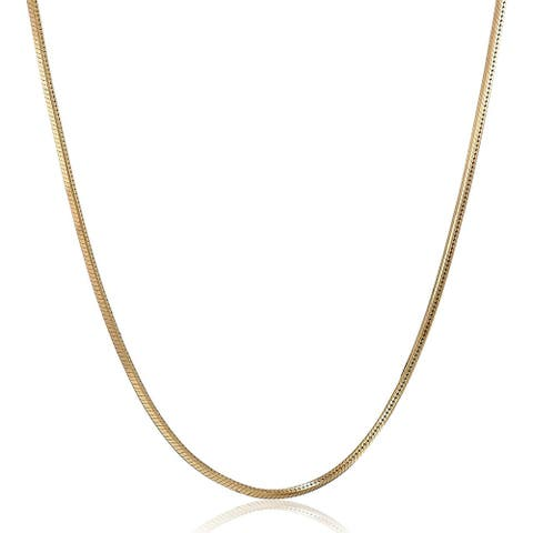 """Four-Sided Snake Chain Necklace in 14K Gold, 20"""" - Yellow"""