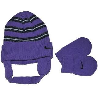 Nike Girls 12-24 Months Stripe Hat and Mitten Set