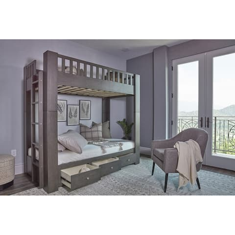 Taylor & Olive Barlia Grey Twin-over-Twin Bunk Bed with Storage Drawers