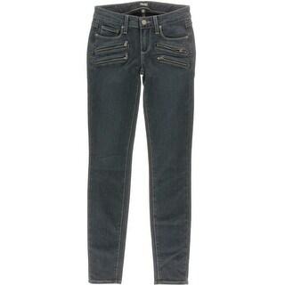 Paige Womens Chambray Zippers Skinny Pants - 24