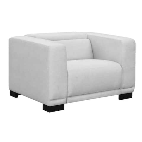 Fabric Upholstered Recliner with Track Armrests and Bracket Legs, White