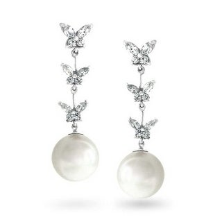 Bling Jewelry White Imitation Pearl CZ Butterfly Earrings Rhodium Plated Brass