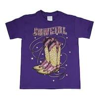 Little Girls Purple Vintage Cowgirl Boots Print Short Sleeve T-Shirt
