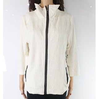 Sportelle Women's Jacket White Ivory Size Large L Full Zip Textured