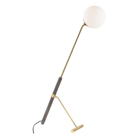 Mitzi by Hudson Valley Brielle 1-light Aged Brass Floor Lamp, Opal Etched Glass