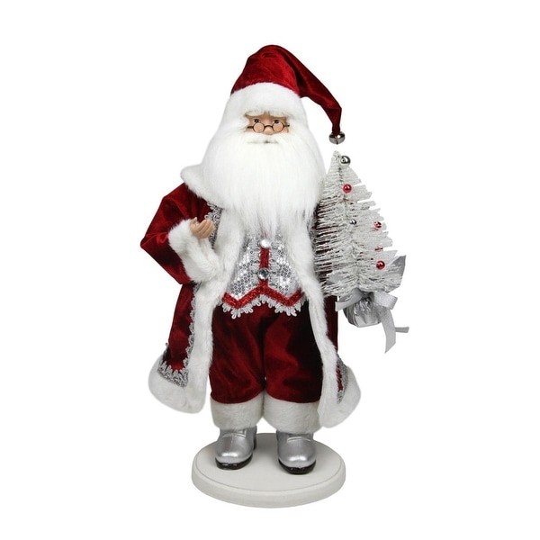 "19"" Red, White and Silver Santa Claus with Christmas Tree Tabletop Decoration"