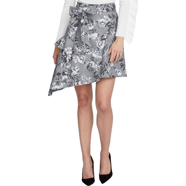 Rachel Roy Womens Bailen Plaid Floral Asymmetrical Skirt. Opens flyout.
