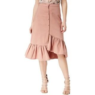 J.O.A. Womens Ruffled Asymmetrical Skirt, pink, Large