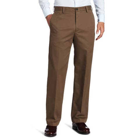 IZOD Mens Pants Brown Size 38x34 Classic Fit Flat Front Straight Chino