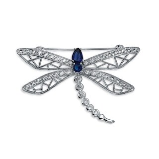 Bling Jewelry Rhodium Plated CZ Blue Dragonfly Brooch Pin