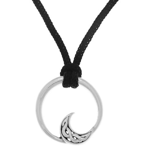 Black Nylon/Sterling Silver Modern Celtic Moon Pendant Necklace