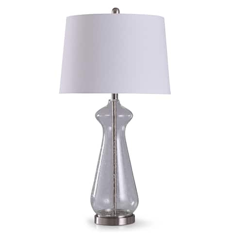 StyleCraft Allen Brushed Steel with Clear Seeded Glass Table Lamp with White Tapered Drum Shade
